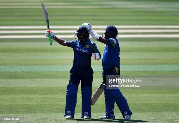 Chamara Kapugedera of Sri Lanka celebrates his fifty during the ICC Champions Trophy Warmup match between Australia and Sri Lanka at The Kia Oval on...