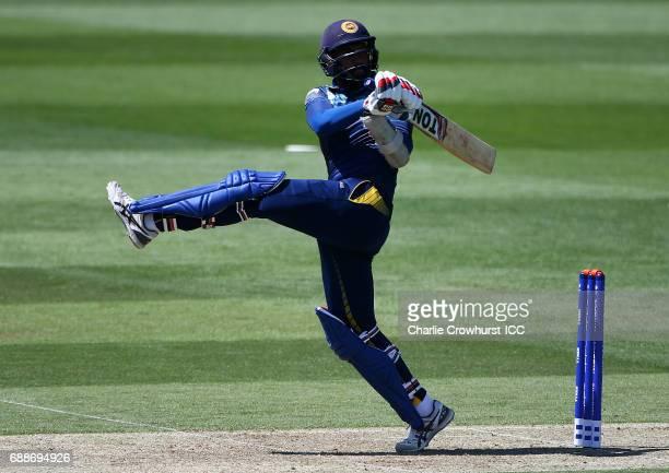 Chamara Kapugedera of Sri Lanka hits out during the ICC Champions Trophy Warmup match between Australia and Sri Lanka at The Kia Oval on May 26 2017...