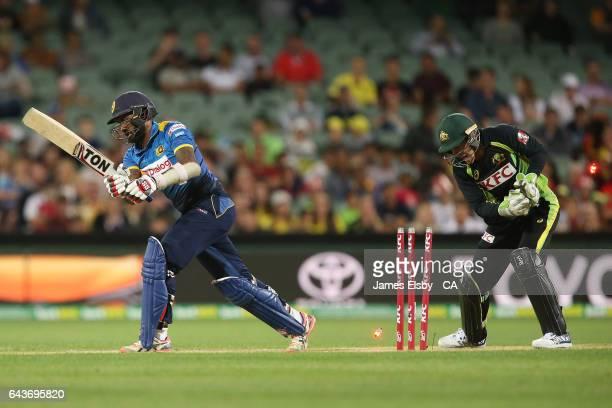 Chamara Kapugedera of Sri Lanka is bowled during the International Twenty20 match between Australia and Sri Lanka at Adelaide Oval on February 22...