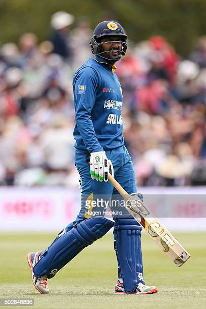 Chamara Kapugedera of Sri Lanka leaves the field after being dismissed during the second One Day International game between New Zealand and Sri Lanka...