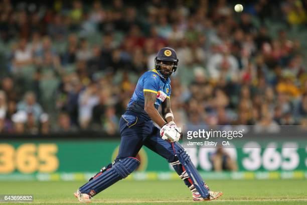 Chamara Kapugedera of Sri Lanka plays a shot during the International Twenty20 match between Australia and Sri Lanka at Adelaide Oval on February 22...
