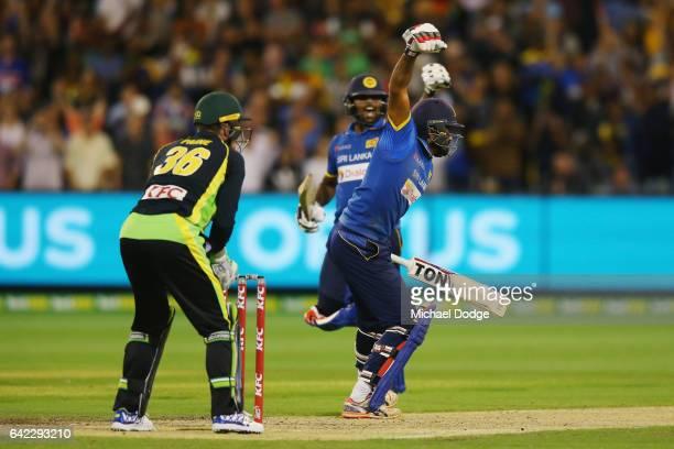 Chamara Kapugedera reacts after he hits the winning runs during the first International Twenty20 match between Australia and Sri Lanka at Melbourne...