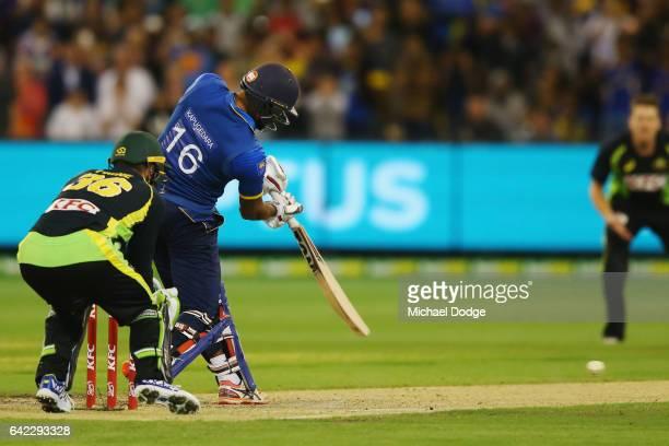 Chamara Kapugedera reacts hits the winning runs during the first International Twenty20 match between Australia and Sri Lanka at Melbourne Cricket...