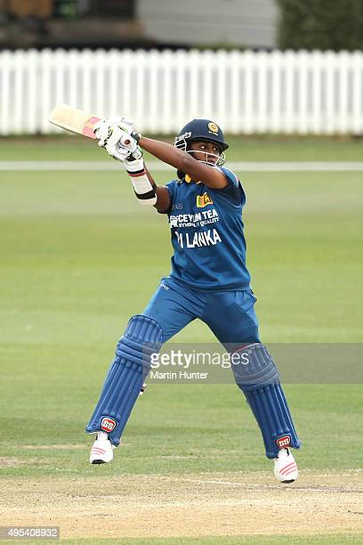 Chamari Atapattu of Sri Lanka bats during the First Women's One Day International match between New Zealand and Sri Lanka at Bert Sutcliffe Oval...