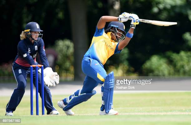 Chamari Atapattu of Sri Lanka plays a front foot drive during the ICC women's world cup warm up match between England Women's and Sri Lanka on June...