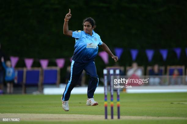 Chamari Atapattu of Yorkshire Diamonds celebrates after taking a wicket during the Kia Super League 2017 match between Loughborough Lightning and...