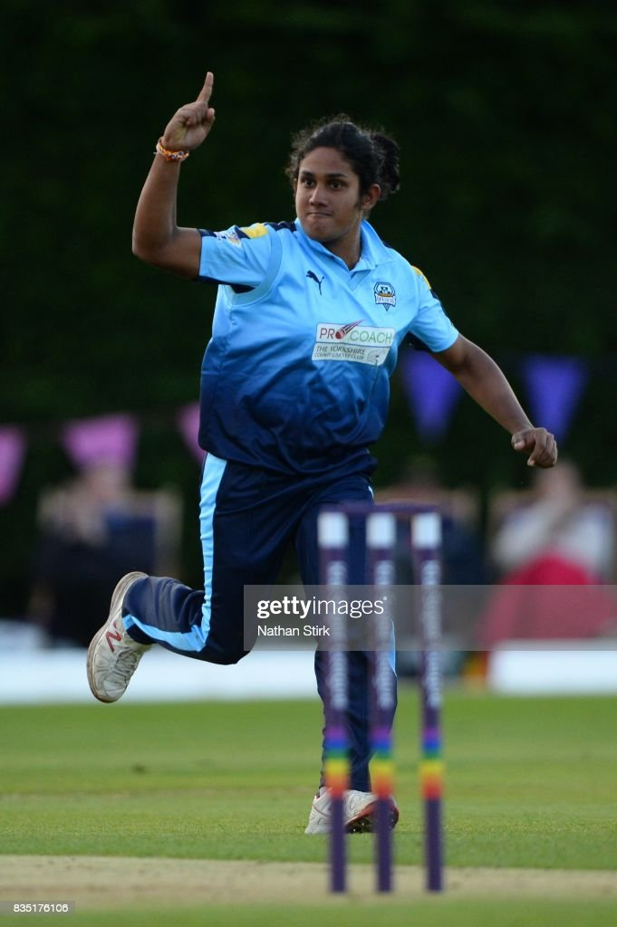 Chamari Atapattu of Yorkshire Diamonds celebrates after taking a wicket during the Kia Super League 2017 match between Loughborough Lightning and Yorkshire Diamonds at The Haslegrave Cricket Ground on August 18, 2017 in Loughborough, England.