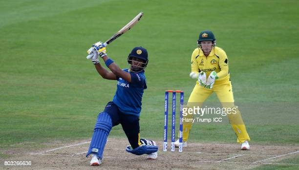 Chamari Athapaththu of Sri Lanka bats during the ICC Women's World Cup 2017 match between Sri Lanka and Australia on June 29 2017 in Bristol England