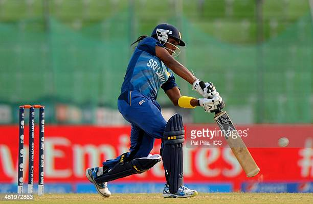 Chamari Athapaththu of Sri Lanka bats during the ICC Women's World Twenty20 playoff match 1 between New Zealand Women and Sri Lanka Women played at...