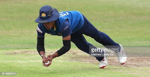 Chamari Athapaththu of Sri Lanka catches Ayesha Zafar of Pakistan during the ICC Women's World Cup 2017 match between Pakistan and Sri Lanka at Grace...