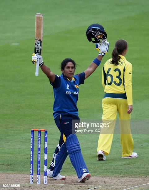 Chamari Athapaththu of Sri Lanka celebrates her century during the ICC Women's World Cup 2017 match between Sri Lanka and Australia on June 29 2017...