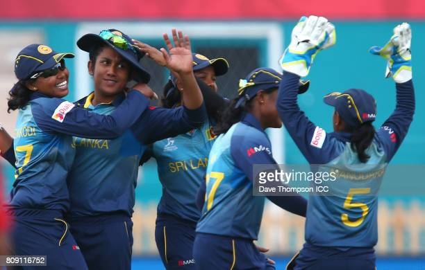 Chamari Athapaththu of Sri Lanka celebrates taking the catch to dismiss Punham Raut of India during the ICC Women's World Cup match between Sri Lanka...