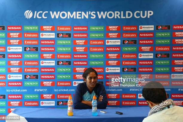 Chamari Athapaththu of Sri Lanka during a press conference following the ICC Women's World Cup match between West Indies and Sri Lanka at The 3aaa...