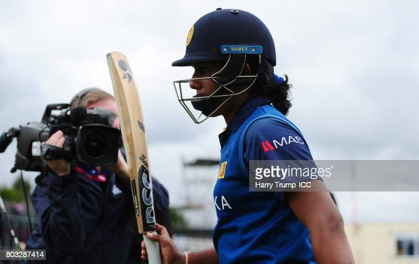 Chamari Athapaththu of Sri Lanka leaves the field unbeaten on 178 during the ICC Women's World Cup 2017 match between Sri Lanka and Australia on June...