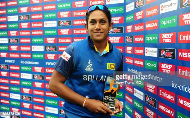 Chamari Athapaththu of Sri Lanka poses with the player of the match award after scoring 178 during the ICC Women's World Cup 2017 match between Sri...