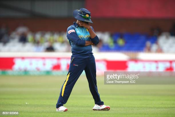 Chamari Athapaththu of Sri Lanka reacts after a dropped catch during the ICC Women's World Cup match between Sri Lanka and India at The 3aaa County...