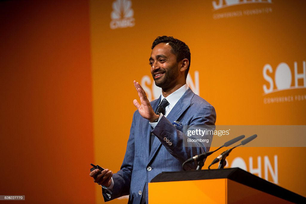 Chamath Palihapitiya, founder and chief executive officer of Social Capital LP, gestures while speaking during the 21st annual Sohn Investment Conference in New York, U.S., on Wednesday, May 4, 2015. Since 1996 the Sohn Investment Conference has brought together the world's savviest investors to share fresh insights and strategies in support of pediatric cancer research and treatment. Photographer: Michael Nagle/Bloomberg via Getty Images
