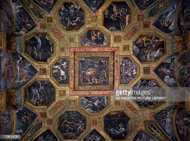 Chamber of Amor and Psyche frescoed ceiling by Giulio Romano Palazzo Te Mantua Lombardy Italy