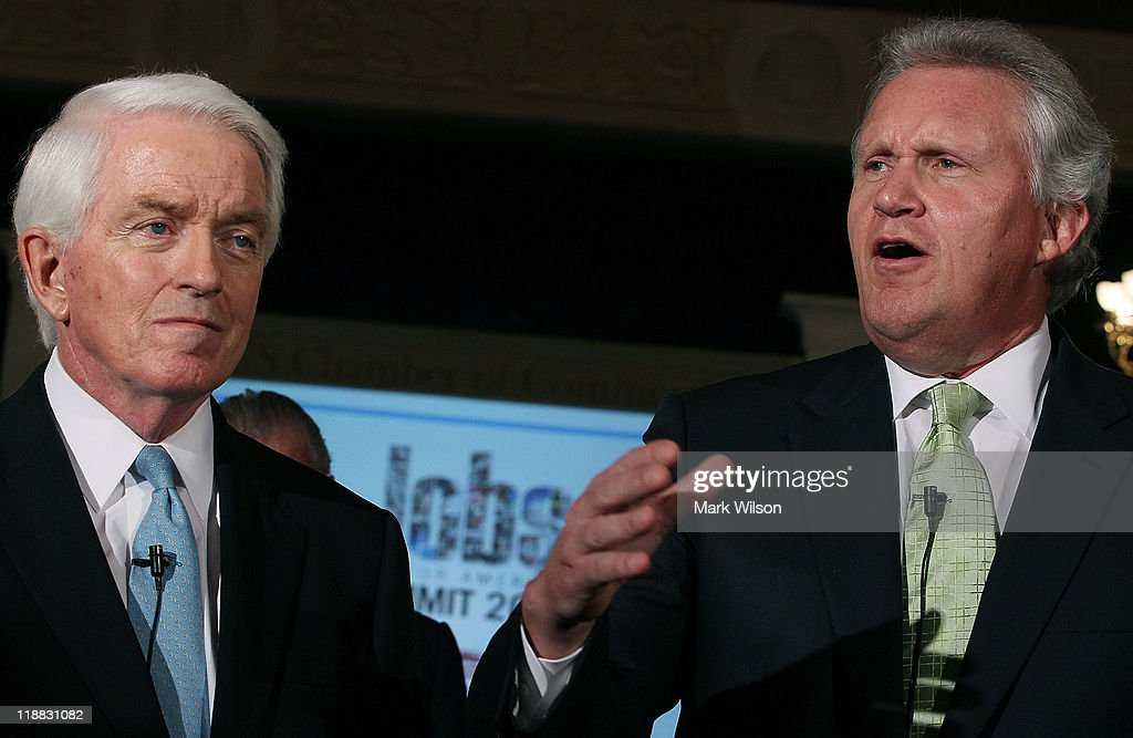 U.S. Chamber of Commerce President and CEO Thomas J. Donohue and CEO of General Electric <a gi-track='captionPersonalityLinkClicked' href=/galleries/search?phrase=Jeffrey+Immelt&family=editorial&specificpeople=605437 ng-click='$event.stopPropagation()'>Jeffrey Immelt</a> speak to the media during the second annual jobs summit, July 11, 2011 in Washington, DC. The U.S. Chamber of Commerce is hosting the Jobs for America Summit that will focus on the challenges and factors that influence job creation in a global economy.