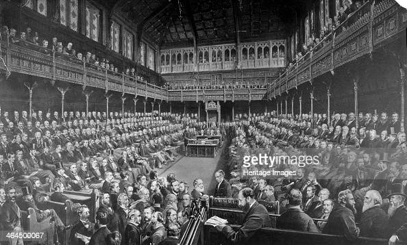 Chamber of the House of Commons 1875 Interior view of the House of Commons showing Members of Parliament from both sides of the house sitting on the...