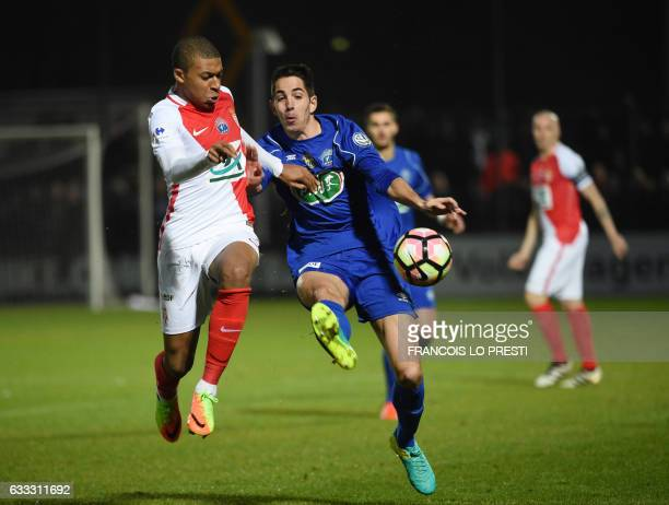 Chambly Jacques Thibault vies with Monaco Abdou Diallo during the French Cup football match between Chambly and Monaco on February 1 2017 at Brisson...