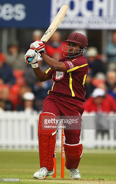 Chaminda Vaas of Northamptonshire hits the ball towards the boundary during the Friends Provident T20 match between Leicestershire and...