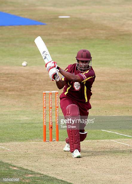 Chaminda Vaas of Northants hits out during the Friends Provident T20 match between Nothamptonshire and Durham at the County Ground on June 26 2010 in...