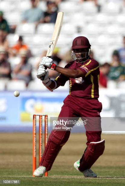 Chaminda Vass of Northamptonshire hits a four during the Friends Provident T20 match between Northamptonshire and Nottinghamshire at the County...
