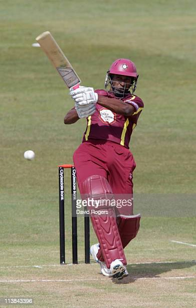 Chaminda Vass of Northants hits a four during the Clydesdale Bank 40 match between Northamptonshire v Warwickshire at Wantage Road on May 8 2011 in...