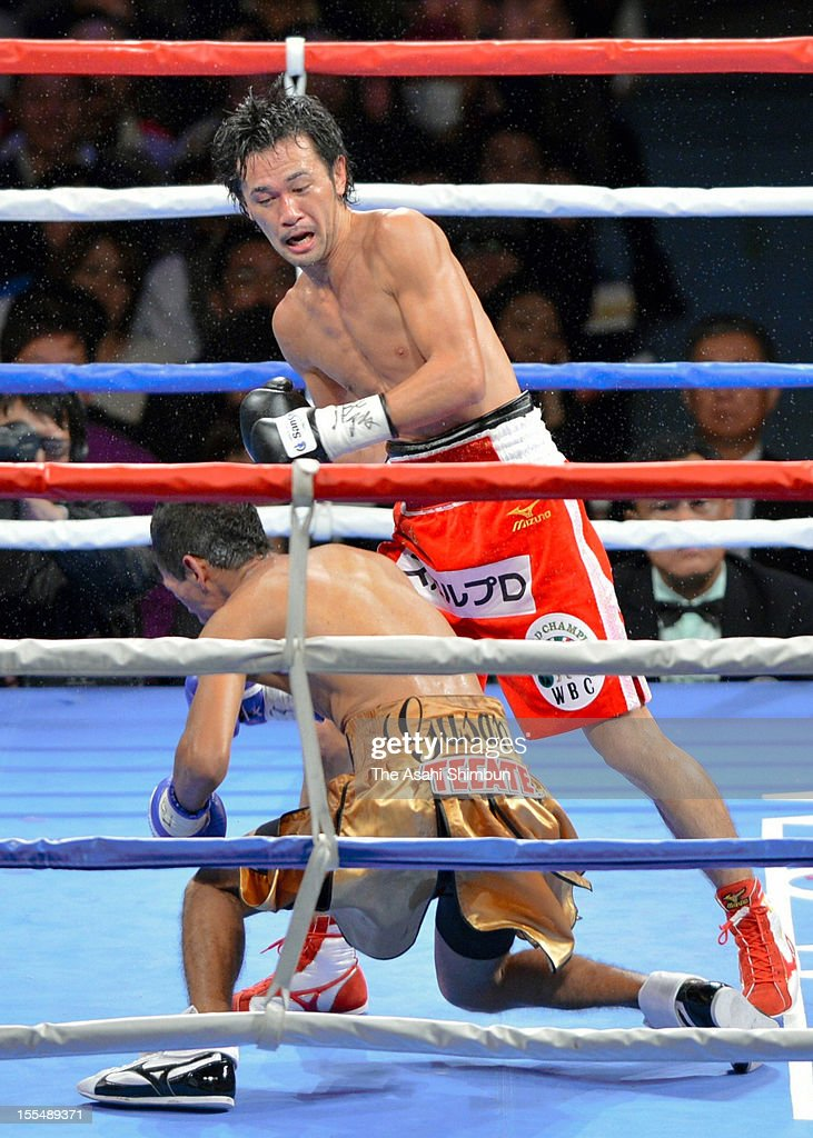 Chamipon Shinsuke Yamanaka of Japan knocks out challenger Tomas Rojas of Mexico at the seventh round during the World Boxing Council bantamweight title match at Zebio Arena Sendai on November 3, 2012 in Sendai, Miyagi, Japan.