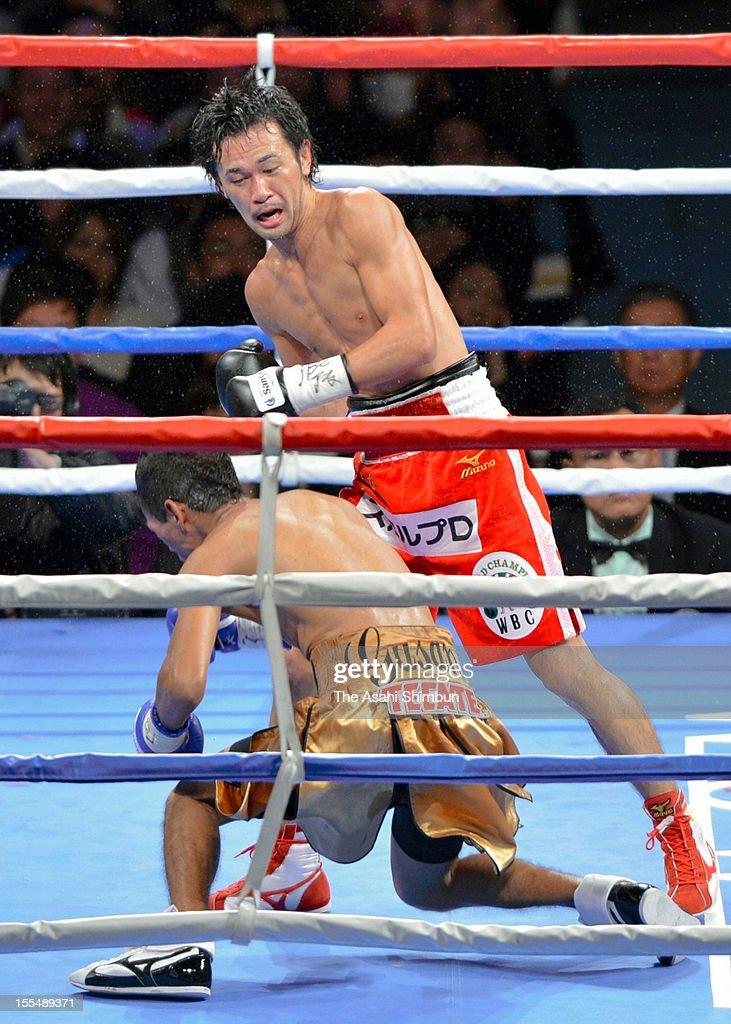 Chamipon Shinsuke Yamanaka of Japan knocks out challenger Tomas Rojas of Mexico at the seventh round during the World Boxing Council bantamweight title match at Zebio Arena Sendai on November 3, 2012 in Sendai, Miyagi, Japan.