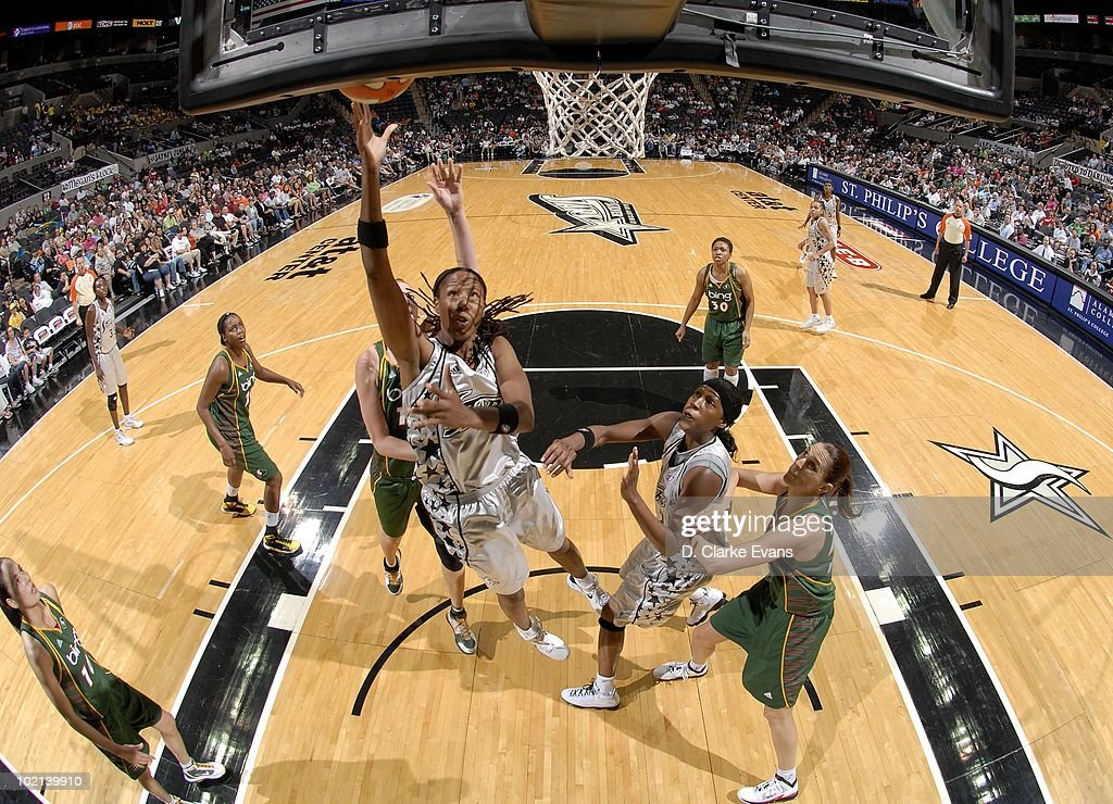 Chamique Holdsclaw of the San Antonio Silver Stars goes to the basket against the Seattle Storm during the game at ATT Center on May 30 2010 in San...