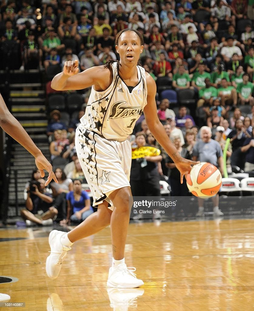 Chamique Holdsclaw of the San Antonio Silver Stars handles the ball during a WNBA game against the Chicago Sky on July 24 2010 at the ATT Center in...