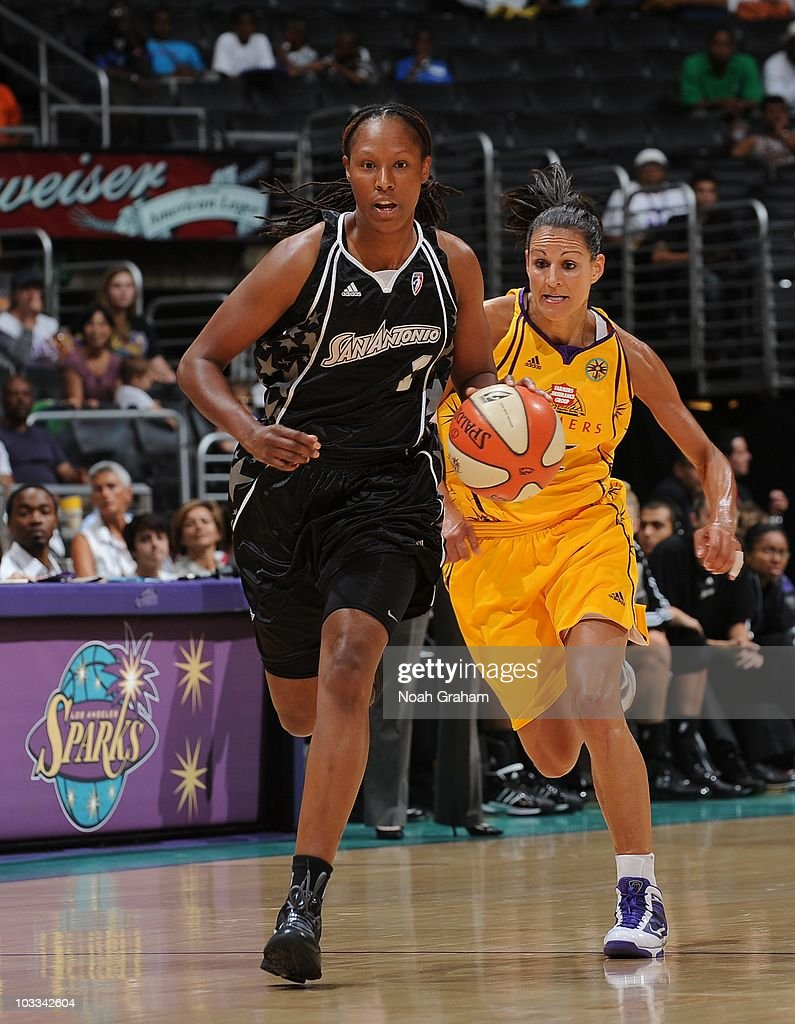 Chamique Holdsclaw of the San Antonio Silver Stars handles the ball during a WNBA game against the Los Angeles Sparks on August 8 2010 at Staples...