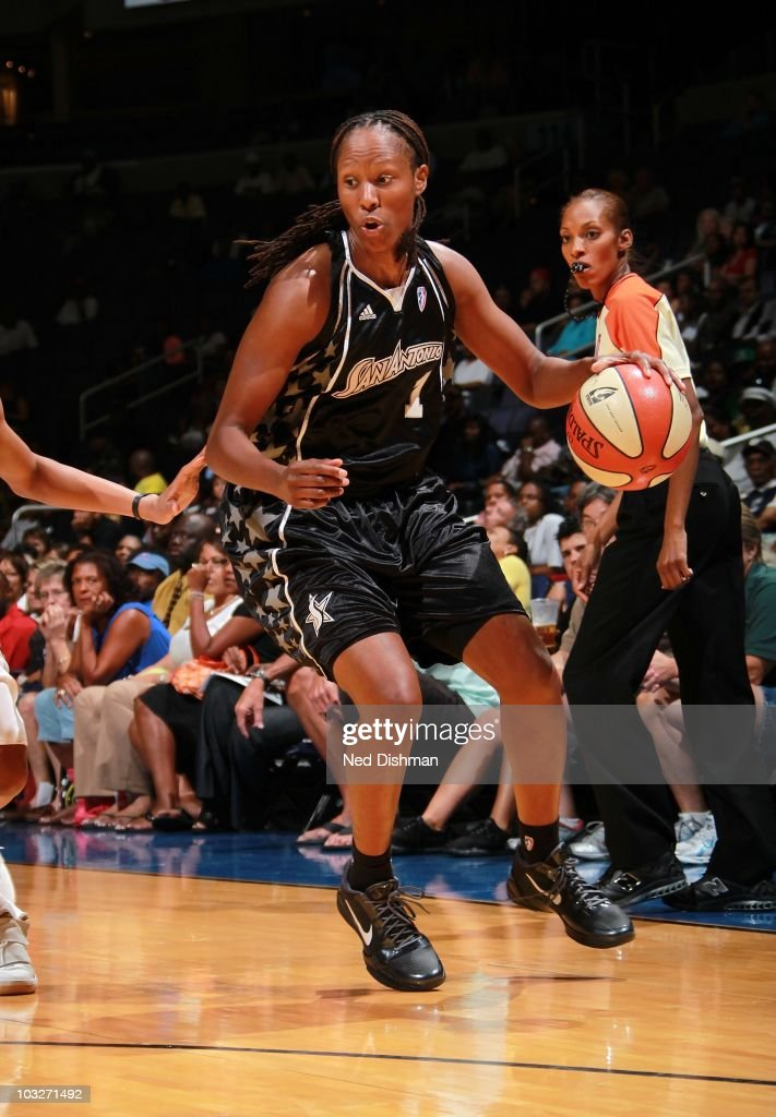 Chamique Holdsclaw of the San Antonio Silver Stars runs with the ball against the Washington Mystics at the Verizon Center on July 29 2010 in...