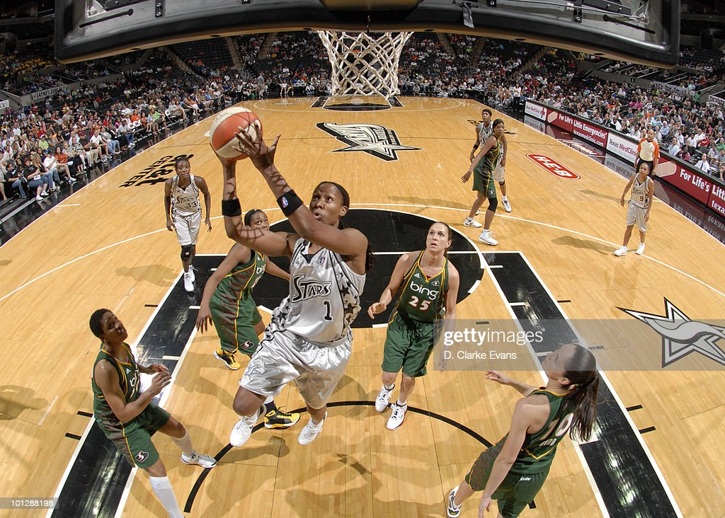 Chamique Holdsclaw of the San Antonio Silver Stars shoots against the Seattle Storm on May 30 2010 at the ATT Center in San Antonio Texas NOTE TO...