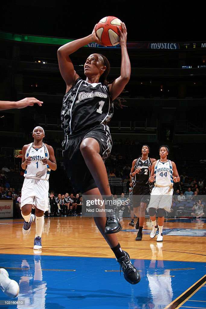 Chamique Holdsclaw of the San Antonio Silver Stars shoots against the Washington Mystics at the Verizon Center on July 29 2010 in Washington DC NOTE...
