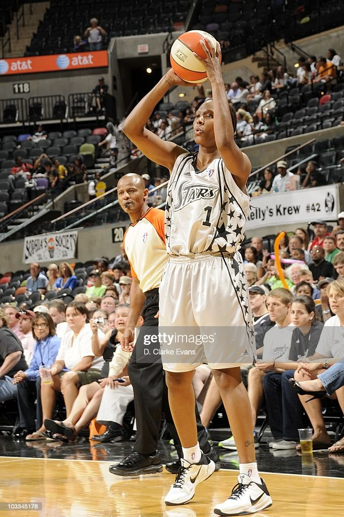 Chamique Holdsclaw of the San Antonio Silver Stars shoots the ball against the Minnesota Lynx during a WNBA game at the ATT Center on August 10 2010...
