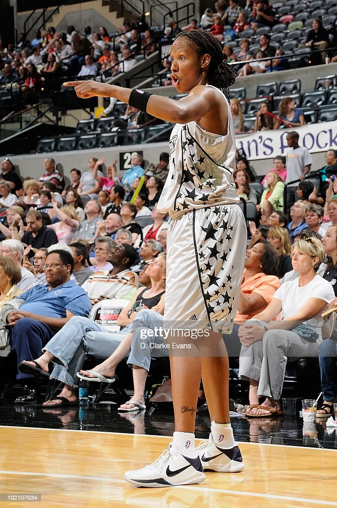 Chamique Holdsclaw of the San Antonio Stars gestures during the game against the New York Liberty on May 28 2010 at the ATT Center in San Antonio...