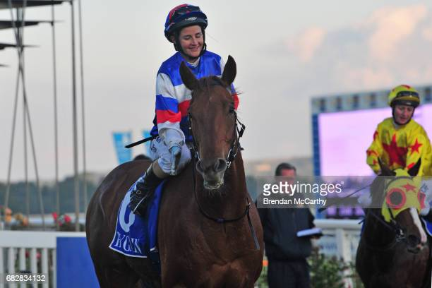 Chamois Road ridden by Michelle Payne returns to the mounting yard after winning the Hygain BM78 Handicap at SportsbetBallarat Racecourse on May 14...