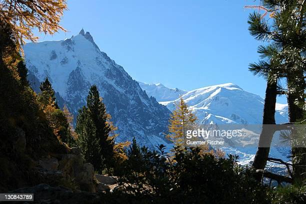 Chamonix, Mont Blanc area view at Aiguile de Midi and Dome du Gouter France