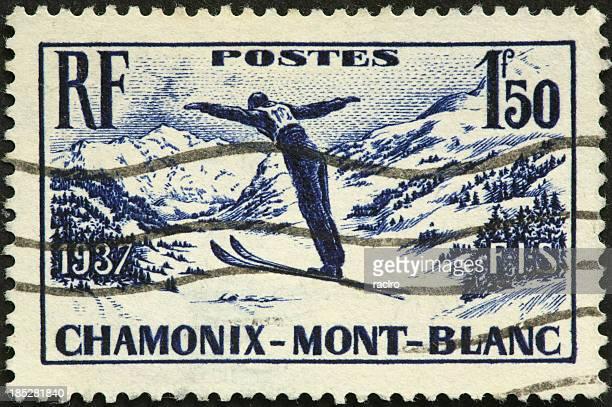 Chamonix Mont-Blanc vintage-Saut à ski