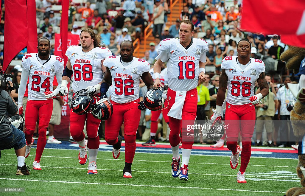Champ Bailey #24, Zane Beadles #68, Elvis Dumervil #92, Peyton Manning #18, and Demaryius Thomas #88 of the Denver Broncos and the AFC are introduced before the 2013 Pro Bowl against the National Football Conference team at Aloha Stadium on January 27, 2013 in Honolulu, Hawaii