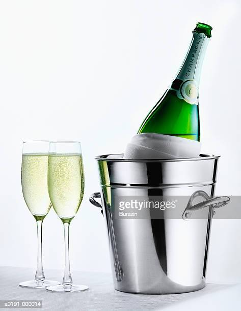 Champagne Bottle and Flutes