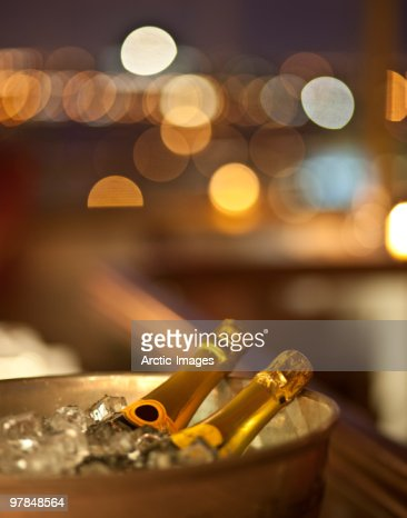 Champagne bottles on Ice : Stock Photo