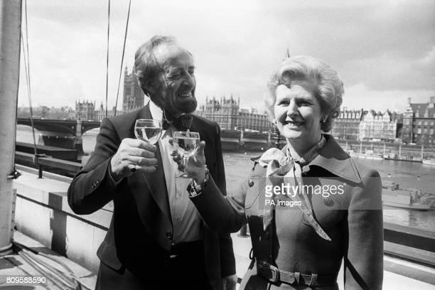 Champagne celebrations for Mr Horace Cutler the new Tory leader of the Greater London Council and party leader Margaret Thatcher as they raise a...