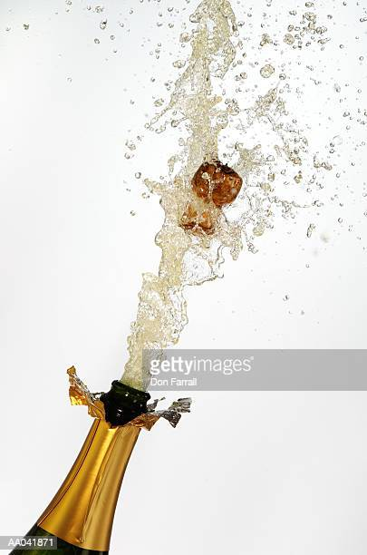 Champagne cork exploding, close-up