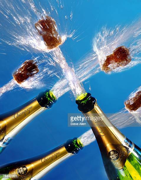 Champagne corks popping