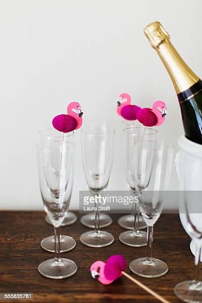Champagne corner with flamingo decorations