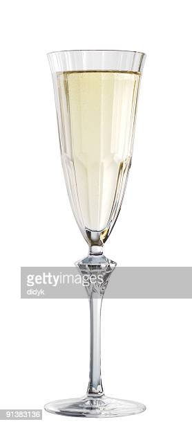 Champagne flute wine glass isolated on white background